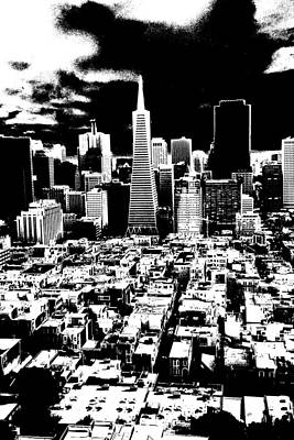 Drawing - San Francisco Skyline - Ink by Art America Gallery Peter Potter