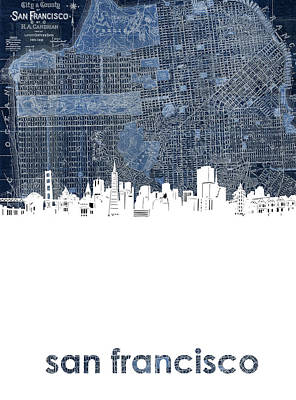 Abstract Skyline Royalty-Free and Rights-Managed Images - San Francisco Skyline Map 2 by Bekim Art