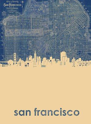 Digital Art - San Francisco Skyline Map 3 by Bekim Art