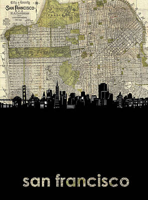 Digital Art - San Francisco Skyline Map by Bekim Art