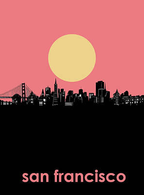 Popstar And Musician Paintings Royalty Free Images - San Francisco Skyline Minimalism 2 Royalty-Free Image by Bekim M
