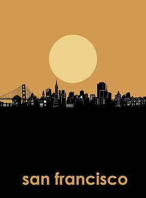 Digital Art - San Francisco Skyline Minimalism 3 by Bekim Art