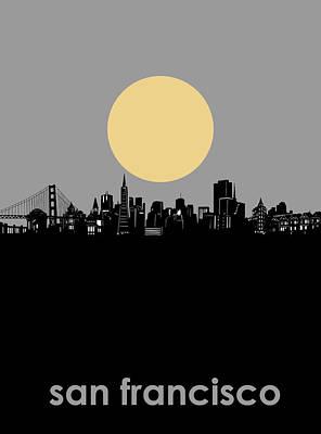 Digital Art - San Francisco Skyline Minimalism by Bekim Art