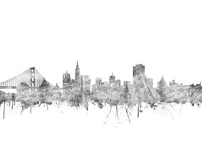 Digital Art - San Francisco Skyline Music Notes by Bekim Art
