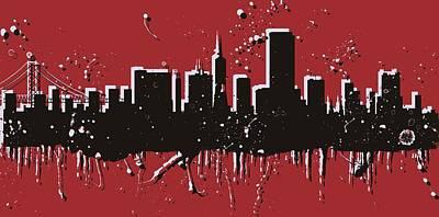 Gate Mixed Media - San Francisco Skyline Pop Art by Dan Sproul