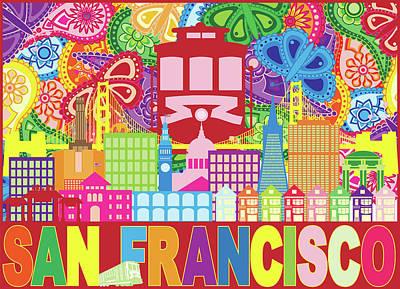 Photograph - San Francisco Skyline Trolley Paisley Pattern Color Illustration by Jit Lim