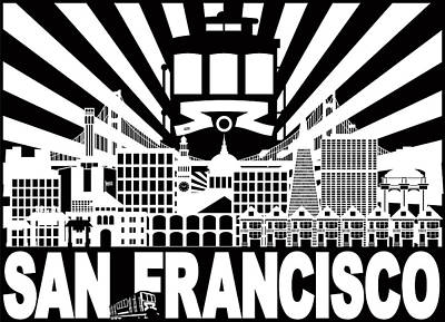 Photograph - San Francisco Skyline Trolley Sun Rays Illustration by Jit Lim