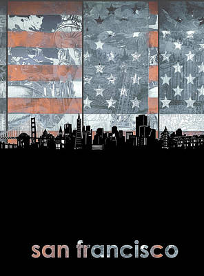 Digital Art - San Francisco Skyline Usa Flag 2 by Bekim Art