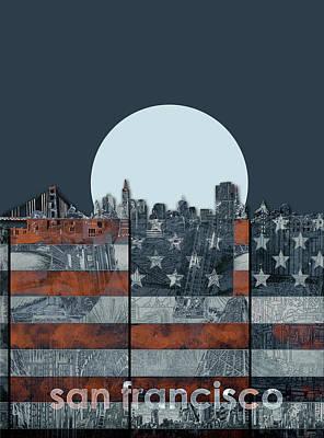 Digital Art - San Francisco Skyline Usa Flag by Bekim Art