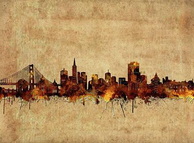 Digital Art - San Francisco Skyline Vintage 2 by Bekim Art