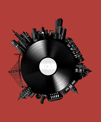 Abstract Skyline Royalty-Free and Rights-Managed Images - San Francisco Skyline Vinyl 10 by Bekim M