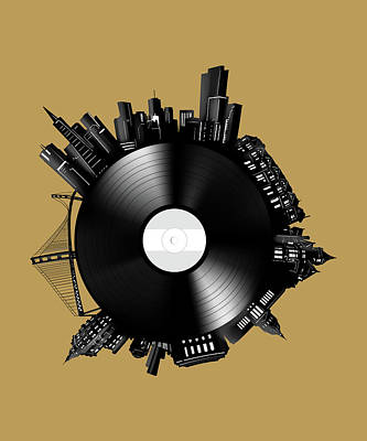 Digital Art - San Francisco Skyline Vinyl 11 by Bekim Art