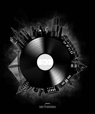 Digital Art - San Francisco Skyline Vinyl 12 by Bekim Art