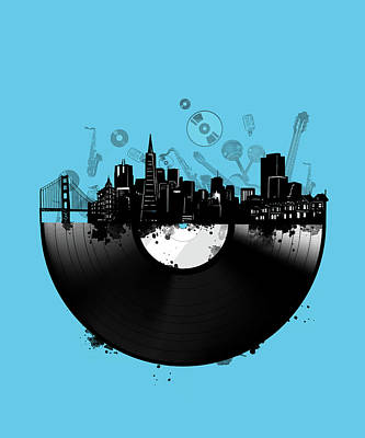Gramophone Wall Art - Digital Art - San Francisco Skyline Vinyl 2 by Bekim Art