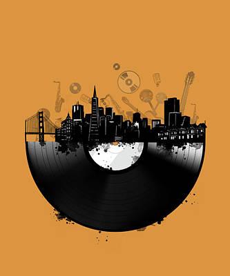Gramophone Wall Art - Digital Art - San Francisco Skyline Vinyl 3 by Bekim Art