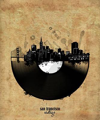 Digital Art - San Francisco Skyline Vinyl 4 by Bekim Art