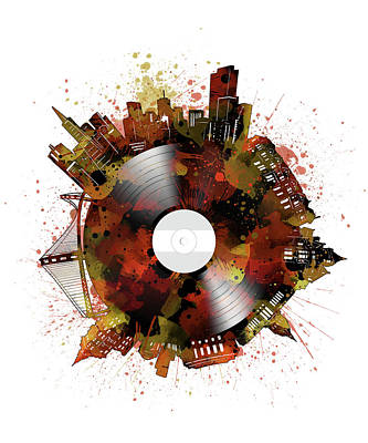 Digital Art - San Francisco Skyline Vinyl 6 by Bekim Art