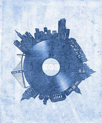 Digital Art - San Francisco Skyline Vinyl 7 by Bekim Art