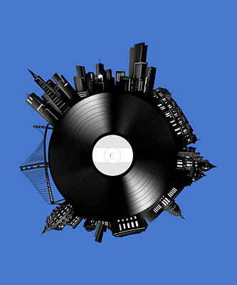 Digital Art - San Francisco Skyline Vinyl 8 by Bekim Art