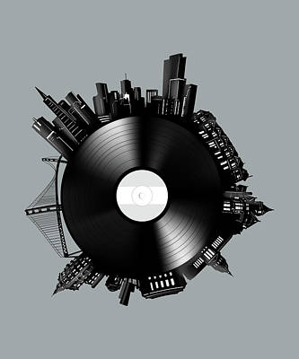 Digital Art - San Francisco Skyline Vinyl 9 by Bekim Art