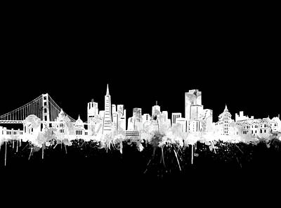 Digital Art - San Francisco Skyline Watercolor Black And White 2 by Bekim Art