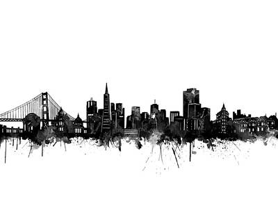 Digital Art - San Francisco Skyline Watercolor Black by Bekim Art