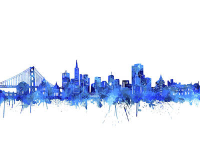 Abstract Skyline Royalty-Free and Rights-Managed Images - San Francisco Skyline Watercolor Blue by Bekim M