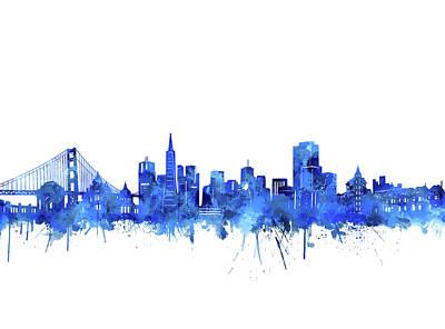 Digital Art - San Francisco Skyline Watercolor Blue by Bekim Art