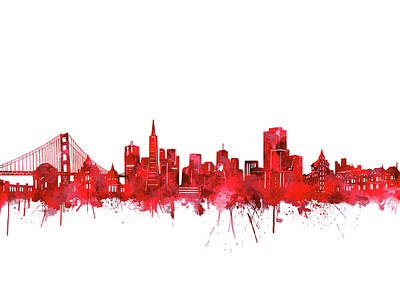 Digital Art - San Francisco Skyline Watercolor Red by Bekim Art