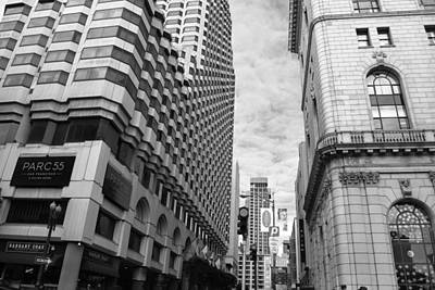 Photograph - San Francisco Street View - Parc 55 - Black And White by Matt Harang