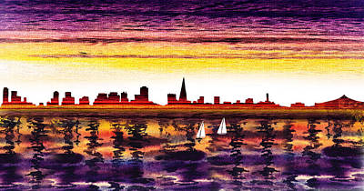 Painting - San Francisco Sunset City Skyline by Irina Sztukowski