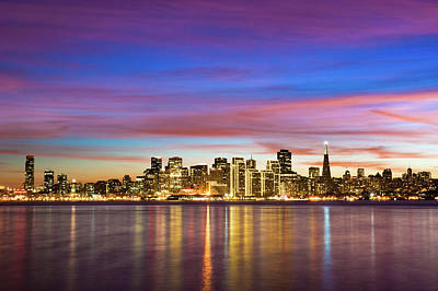 Illuminated Photograph - San Francisco Sunset by Photo by Alex Zyuzikov