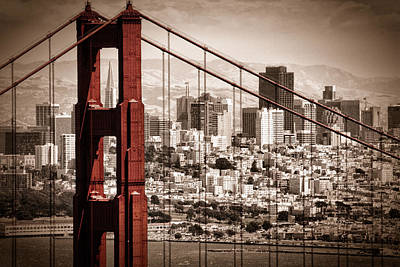 Sepia Photograph - San Francisco Through The Bridge by Matt  Trimble