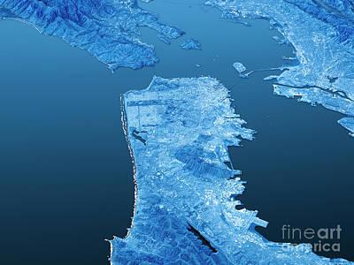 San Francisco Topographic Map 3d Landscape View Blue Color Art Print