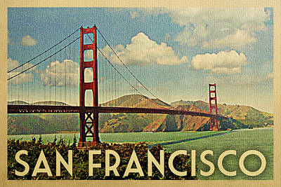 Golden Gate Bridge Digital Art - San Francisco Travel Poster - Golden Gate by Flo Karp