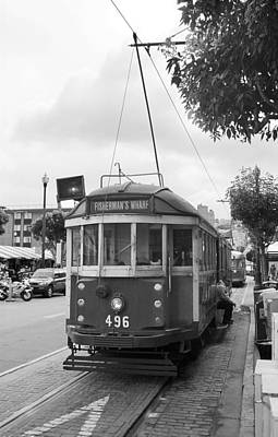 Photograph - San Francisco Trolley Car Bw by Frank Romeo