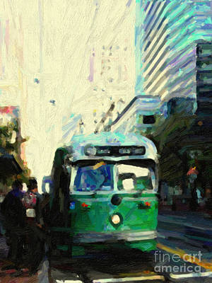 San Francisco Trolley F Line On Market Street Art Print by Wingsdomain Art and Photography