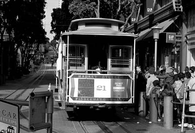 Photograph - San Francisco Trolly - Market Street - Black And White by Matt Harang