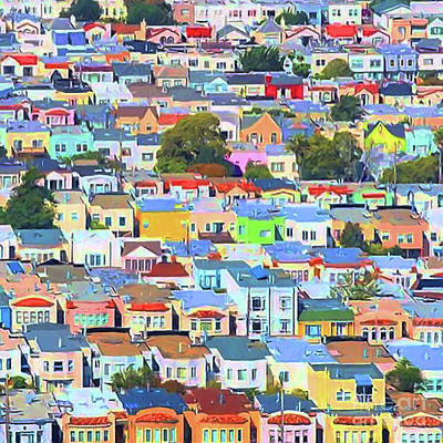 Photograph - San Francisco Urban Houses 20170901 Square by Wingsdomain Art and Photography