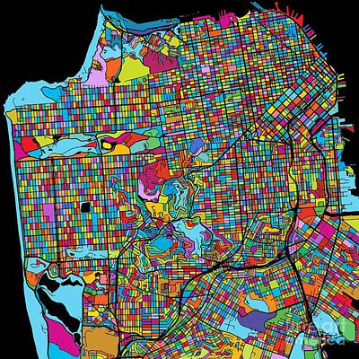 San Francisco, Usa, Colorful Map Original