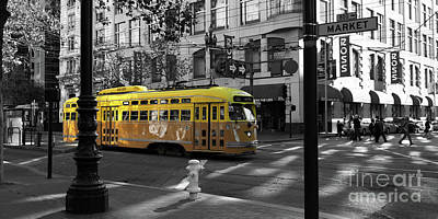 Trains Trollies And Buses - Art And Photograph - San Francisco Vintage Streetcar On Market Street 5d19798 Black And White And Yellow Panoramic by Wingsdomain Art and Photography