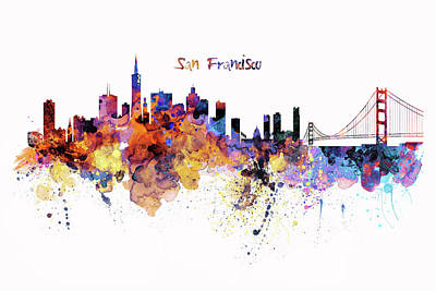 Skylines Mixed Media - San Francisco Watercolor Skyline by Marian Voicu