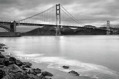 Photograph - San Francisco's Golden Gate Bridge - Black And White Edition by Gregory Ballos