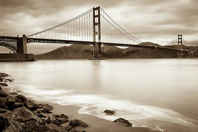 Photograph - San Francisco's Golden Gate Bridge - Sepia Edition by Gregory Ballos