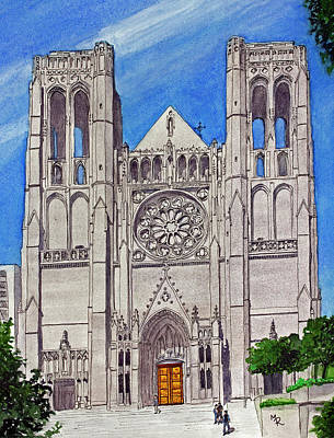 Painting - San Francisco's Grace Cathedral by Mike Robles