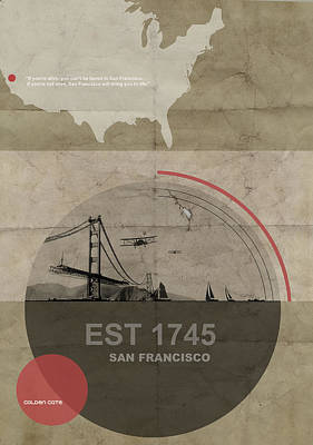 1920 Digital Art - San Fransisco by Naxart Studio