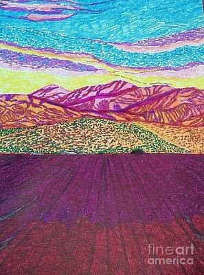 California Vineyard Drawing - San Gabriel Song  by Ishy Christine