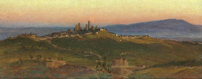 Tuscan Sunset Painting - San Gimignano, 1898 by Edith Ridley Corbet