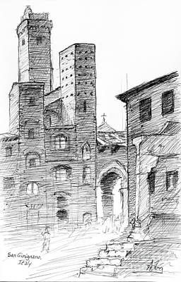 Drawing - San Gimignano Towers In Italy Pen And Ink Drawing by Adam Long
