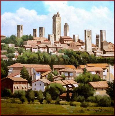 Contempory Art Galleries In Italy Painting - San Gimignano Tuscany by Massimo Dilecce